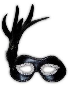 Venezianische Feder Augenmaske Perlen schwarz-weiss
