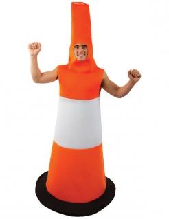 Leitkegel Unisex-Kostüm weiss-orange-schwarz