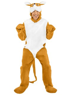 Känguru Unisex-Kostüm weiss-braun