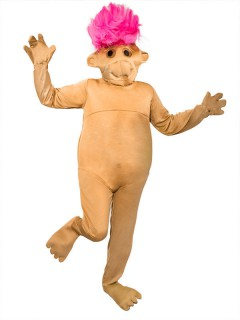 Troll Kobold Damenkostüm Overall braun-pink