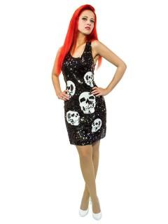 Totenkopf Skull Kleid Damenkostüm mit Pailletten schwarz-weiss