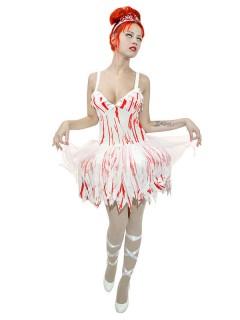 Blutige Zombie Ballerina Halloween Damenkostüm weiss-rot