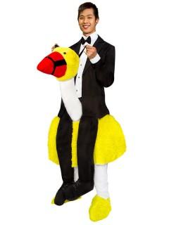 Carry Me Retro Komiker Kostüm mit Vogel schwarz-weiss-gelb
