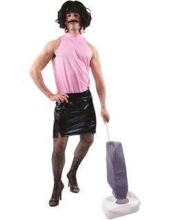 Hausfrau Kostüm mit Perücke Männerballett schwarz-rosa