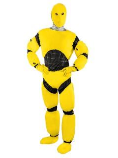 Crash Test Dummy Overall Kostüm schwarz-gelb