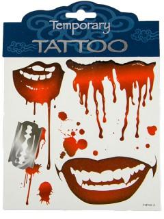 Blutige Halloween-Tattoos Horrormotive blutige Lippen Rasierklinge 4er-Set rot-grau