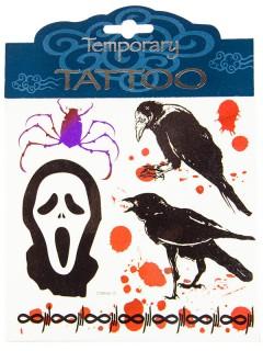Blutiges Halloween-Tattoo-Set Horrormotive Raben 5-teilig schwarz-rot