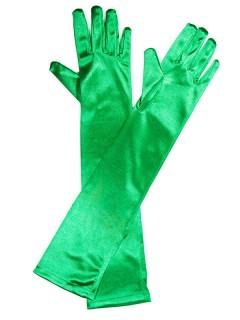 Satin-Handschuhe Kostümzubehör lang grün