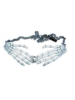 Kreepsville Gothic Halskette Skeletthände weiss
