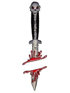 Kreepsville Gothic Aufnäher Patch blutiges Messer schwarz-weiss-rot