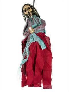 Tod Skelett Halloween-Dekoration Hängedeko mit Leuchteffekt rot-türkis 40cm