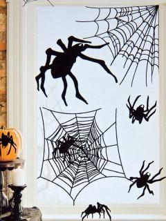 Spinnen Aufkleber Halloween Party-Deko-Set 24-teilig schwarz 24,7x69,8cm