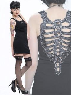 Gothic Kleid mit Brustkorb-Verzierung schwarz