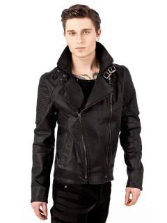 Gothic-Jacke mit breitem Kragen Lederlook schwarz