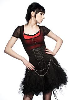 Mini-Rock Gothic mit Spitze schwarz