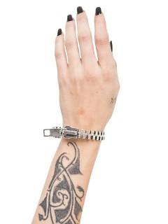 Gothic Armband Reissverschluss silber