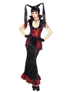Sexy Hexen-Kostüm für Damen Halloweenkostüm schwarz-rot
