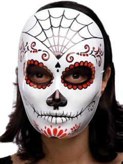 Dia de los Muertos Halloween Maske Spinnennetz weiss-rot-schwarz