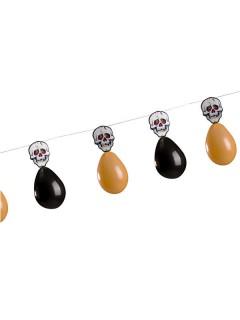 Totenköpfe und Luftballons Girlande Halloween Party-Deko orange-schwarz 300x27,5cm