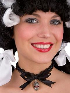Gothic Piraten Halloween Schmuck Halsband Totenkopfschwarz-silberfarben-rot