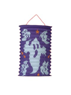 Halloween Grusel Laterne Motiv Geister lila-weiss 15cm Durchmesser