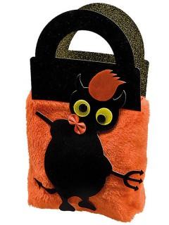 Trick or Treat Halloween Plüschtasche Teufelchen schwarz-orange 40cm