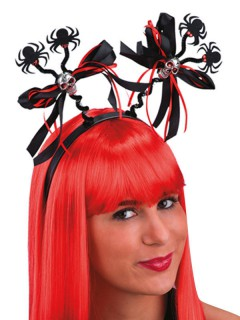 Totenkopf Harreif Haarschmuck mit Spinnen rot-schwarz