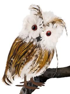 Schleiereule Uhu Vogel Deko weiss-braun-schwarz 22cm