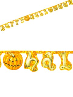 Kürbis Girlande Happy Halloween Party-Deko bunt 250x17cm