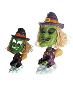 Lustige Hexe mit Farbwechsel Halloween Party-Deko bunt 17cm