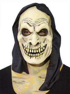 Dämon Halloween Zombie Maske mit Kapuze beige-schwarz