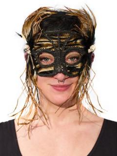 Venezianische Maske mit Federn und Totenköpfen braun