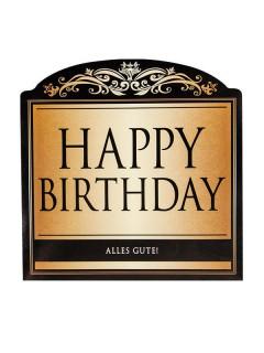 Happy Birthday Sektflaschenaufkleber gold-schwarz