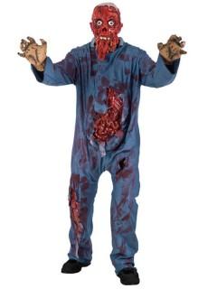 Zombie Brandopfer Halloween-Kostüm Blut Gedärme blau-rot