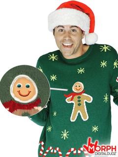 Digital Dudz Christmas Lebkuchen Pullover Weihnachten grün-beige-gelb