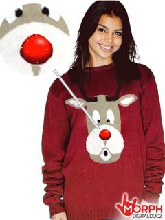 Digital Dudz Christmas Rudolph Pullover Rentier rot-beige-weiss