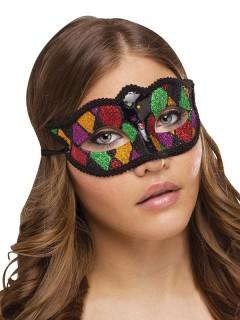 Venezianische Augenmaske Harlekin Glitzer schwarz-rot-grün