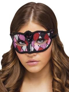 Venezianische Augenmaske Harlekin Glitzer schwarz-rosa-lila