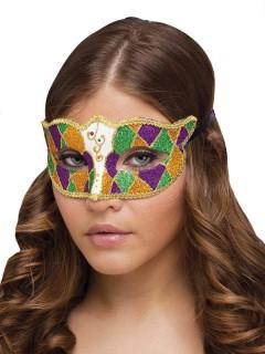 Venezianische Augenmaske Harlekin Glitzer gold-grün-lila