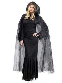 Glitzer-Umhang Halloween Cape mit Kapuze schwarz-silber