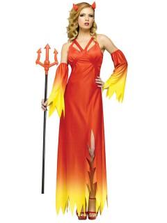 Elegante Teufelin Damenkostüm rot-gelb