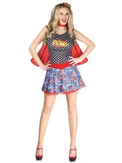 Superheldin Comic-Damenkostüm blau-rot