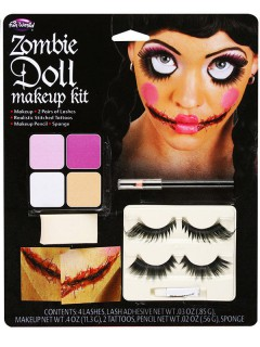 Voodoo-Puppe Schminkset Halloween-Make-up 7-teilig bunt