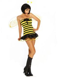 Sexy Biene Damenkostüm schwarz-gelb