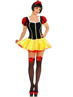 Sexy Märchen Damenkostüm Prinzessin gelb-schwarz-rot