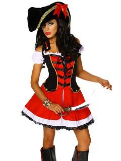 Verführerische Piratin Damenkostüm rot-weiss-schwarz