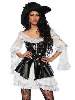 Heisse Freibeuterin Piratin Damenkostüm schwarz-weiss