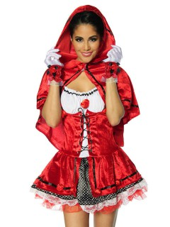 Sexy Waldmädchen Damenkostüm Märchen rot-schwarz-weiss