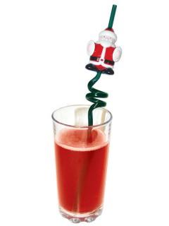 Singender Trinkhalm Weihnachtsmann Weihnachten rot-weiss-grün 25,5cm
