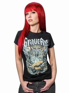 GraveArt Skelett-Shirt Damen schwarz-grau
